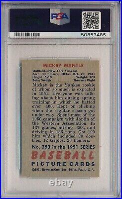 1951 Bowman #253 Mickey Mantle Rookie, High # Psa 6(mc) Ex-mt (svsc)