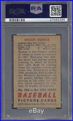 1951 Bowman #253 Mickey Mantle Rookie PSA 5