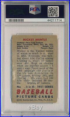 1951 Bowman #253 Mickey Mantle Rookie Psa 1 Pr (svsc)