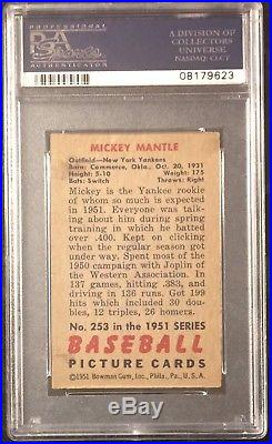 1951 Bowman #253 Mickey Mantle Rookie Psa 6