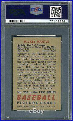 1951 Bowman #253 Mickey Mantle Rookie RC PSA 7.5 +++
