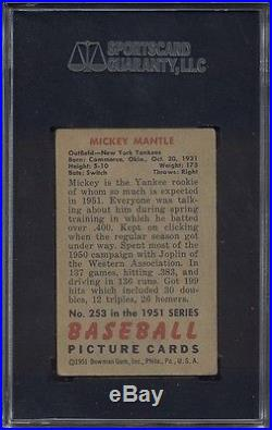 1951 Bowman #253 Mickey Mantle Rookie SGC 50 = 4