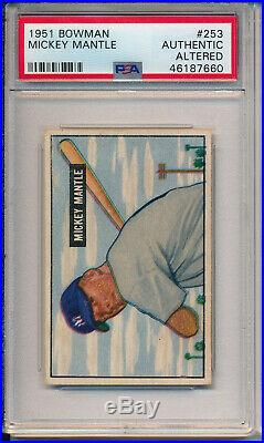 1951 Bowman #253 Mickey Mantle Rookie -high #-psa Altered (svsc) -freshly Graded