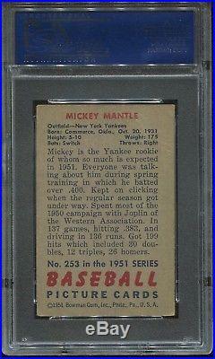 1951 Bowman #253 Mickey Mantle Rookie psa 3 Vg HOF