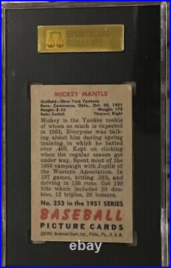 1951 Bowman #253 Mickey Mantle SGC 2 Rookie See Description