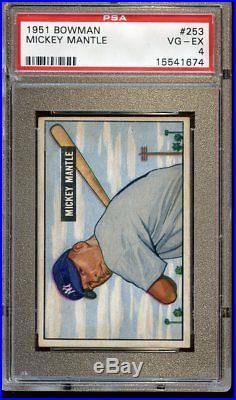 1951 Bowman Baseball Card #253 Mickey Mantle Rookie New York Yankees PSA 4 VGEX