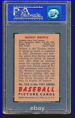 1951 Bowman MICKEY MANTLE RC #253 PSA 4 No Creases
