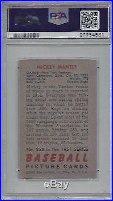 1951 Bowman MICKEY MANTLE RC PSA 4 VG-EX, beautiful centering, HOLY GRAIL