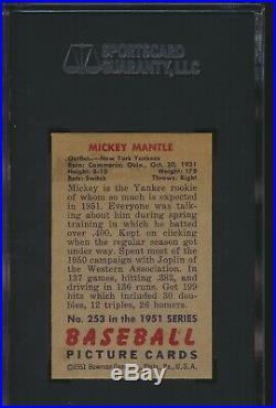 1951 Bowman MICKEY MANTLE Rookie New York Yankees SGC 7