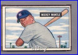 1951 Bowman MICKEY MANTLE rookie card #253 NO CREASES LOOKS BETTER VG/EX PSA 4