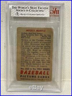 1951 Bowman Mickey Mantle #253 Bgs 1.5 Fair Rc Rookie Ny Yankees Hof Mm1