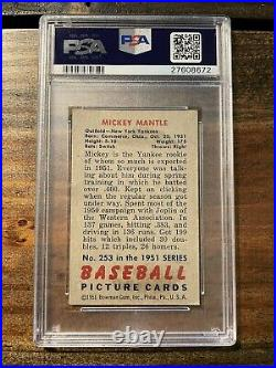 1951 Bowman Mickey Mantle #253 PSA 1 ROOKIE RC New York Yankees GREAT COLOR