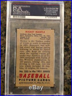 1951 Bowman Mickey Mantle #253 PSA 4. The Real Mantle Rookie Card