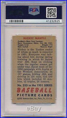 1951 Bowman Mickey Mantle #253 Psa Vg-ex 4 (mc) Rc Rookie Yankees Hof Star Mi01