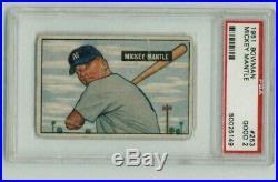 1951 Bowman Mickey Mantle New York Yankees #253 Baseball Card