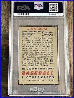 1951 Bowman Mickey Mantle New York Yankees #253 Baseball Card rookie PSA Auth