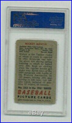 1951 Bowman Mickey Mantle PSA 2