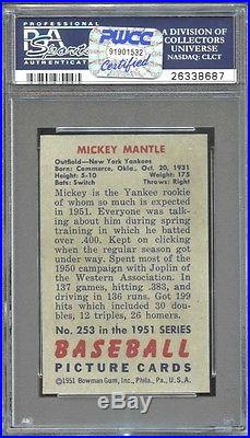 1951 Bowman Mickey Mantle Psa 4 Centered & Sharp Corners! Looks Like A Psa 8