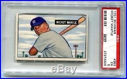 1951 Bowman Mickey Mantle RC Rookie #253 PSA 5 EX Yankees