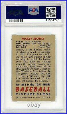 1951 Bowman Mickey Mantle Rookie #253 PSA 2 Beautiful Color Clean Back P883