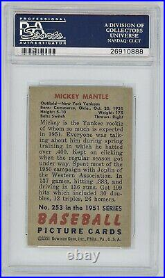 1951 Bowman Mickey Mantle Rookie Card, PSA 4. Mantle's TRUE Rookie! ICONIC