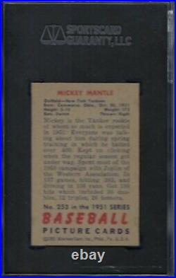 1951 Bowman No. 253 Mickey Mantle Rookie Sgc 88 Near Mint/mint Pack Fresh