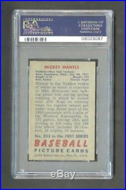 1951 bowman #253 mickey mantle hof rc psa 8 only 9 higher