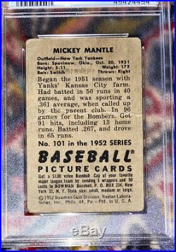 1952 BOWMAN Mickey Mantle #101 PSA 1 Strong Card
