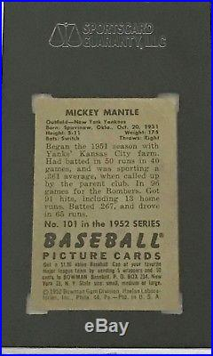 1952 Bowman #101 MICKEY MANTLE SGC 45 (3.5) VG+ New York Yankees HOF