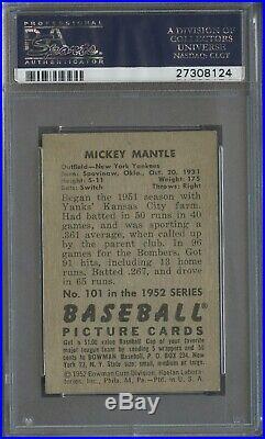 1952 Bowman #101 Mickey Mantle New York Yankees HOF PSA 6 CENTERED