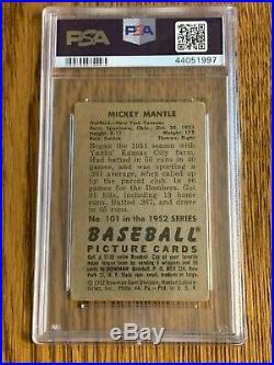 1952 Bowman #101 Mickey Mantle New York Yankees PSA 2