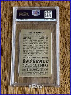 1952 Bowman #101 Mickey Mantle New York Yankees PSA 3