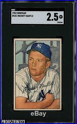 1952 Bowman #101 Mickey Mantle New York Yankees RC Rookie HOF SGC 2.5 GOOD+