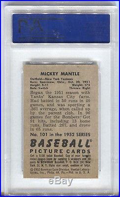 1952 Bowman #101 Mickey Mantle PSA 7 NM New York Yankees HOF Baseball Card