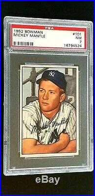 1952 Bowman #101 Mickey Mantle PSA 7 Near Mint Almost Perfect Centering