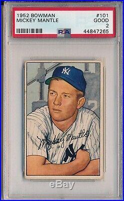 1952 Bowman #101 Mickey Mantle Psa 2 Good (svsc) Freshly Graded