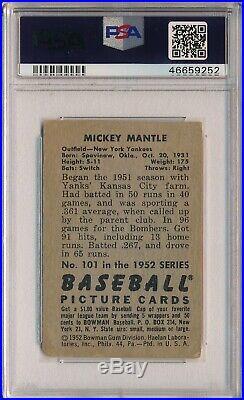 1952 Bowman #101 Mickey Mantle Psa 3 Vg (svsc) Freshly Graded Centered