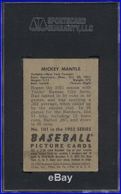 1952 Bowman #101 Mickey Mantle SGC 40 = 3