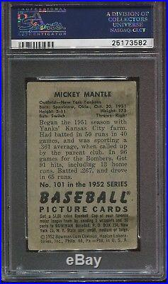 1952 Bowman #101 Mickey Mantle psa 3 Vg HOF 2nd Year Yankees