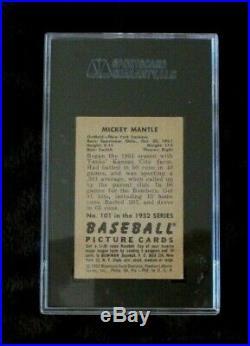 1952 Bowman Mickey Mantle #101 Graded Baseball Card In (vg/ex 4) Nice