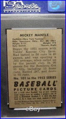 1952 Bowman Mickey Mantle #101 PSA 4 Centered & Beautiful