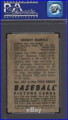 1952 Bowman Mickey Mantle #101 PSA 4 VGEX
