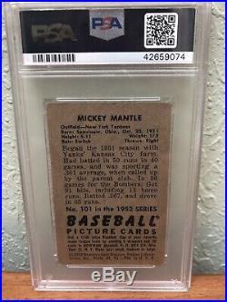 1952 Bowman Mickey Mantle PSA 2 GOOD