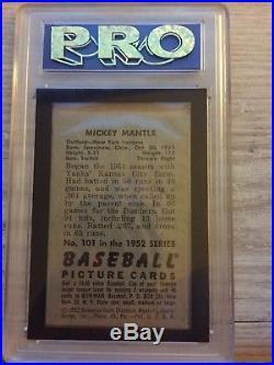 1952 Bowman Mickey Mantle Psa 7 Pro Graded 8
