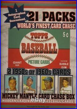 1952 Mantle Card Chase Box- 21 Packs + Autograph Card + 2 1950/60's Cards