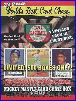 1952 Mantle Rookie Card Chase Box Graded Cd22 pcks2 50/60 Cards\vintage pack