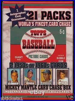 1952 SEALED Mantle Rookie Card Chase Box 21 pack 2 CARDS 50/60'S-AUTO