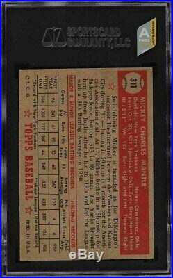 1952 TOPPS #311 MICKEY MANTLE ROOKIE SGC 5 (compare to PSA 5)