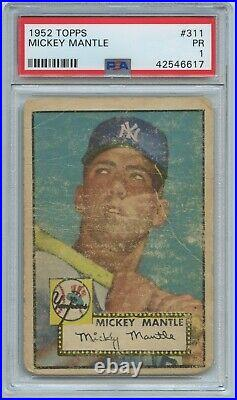1952 Topps #311 MICKEY MANTLE Rookie RC New York Yankees PSA 1 WELL CENTERED