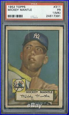 1952 Topps #311 Mickey Mantle PSA 1